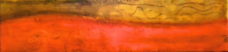 "24""x6"" Encaustic Mixed Media on Birchwood"